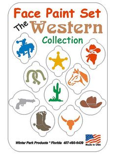 10 Piece Western Cowboy Face Paint Set Face paint Kit Stencils--FREE US SHIPPING-- on Etsy, $6.99