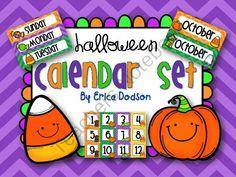 October Calendar Set from Erica Dodson on TeachersNotebook.com -  (12 pages)  - October/Halloween Calendar Set