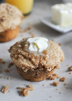 Whole Wheat Coffee Cake Muffins I howsweeteats.com