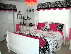 girls bedroom pink and black, window treatment, room idea, black white, hot pink and black girls room, pink room, teen girls, teen girl zebra bedroom, girl rooms