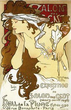 Alphonse Mucha alphons mucha, salon des, des cent, poster, artnouveau, alphonsemucha, salons, art nouveau, alphonse mucha