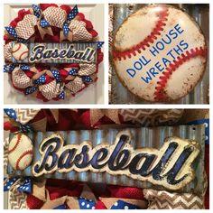 Baseball burlap wreath
