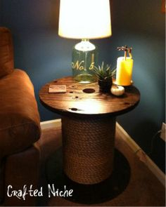 Spool Table ideas for old furniture, cat, side tables, living rooms, family rooms, end tables, sewing rooms, deck, spool tabl