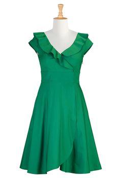 poplin dress, fashion, style, cloth, plus size, bridesmaid dresses, jamaica dress, cotton poplin, ruffl cotton