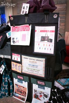 Great way to show the function of a Thirty-One Hang-Up Home Organizer at a party!