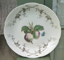 Antique Haviland Limoges Plate    Fruit Saxe    This pattern was designed for Haviland by the famous Henri Pallandre in the 1870's and 80's. Pallandre was inspired by 18th century Meissen and Dresden porcelains and their decor.    This lovely antique plate features a fruit design in the center along with a butterfly. This design is framed with ivy branches forming a border - all on the basket weave blank.    $72.00
