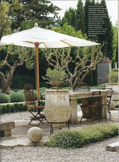 Outdoor table area with umbrella