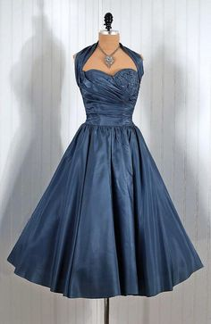 1950s bridesmaids, fashion, party dresses, 1950s dresses, slate, cocktail dresses, carrots, blues, vintage style