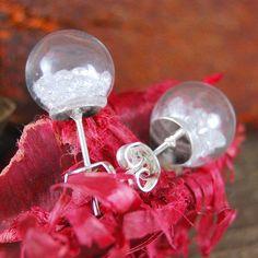 Diamond crystal christmas bauble silver earrings by embers semi-precious and gemstone designs | notonthehighstreet.com