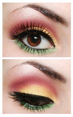 Pink/yellow/green eye shadow look