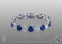 Diamond and sapphire wedding band by Leon Mege