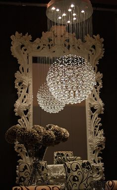 decor, mirror, interior, balls, light fixtures, chandeliers, lamp, crystal, design