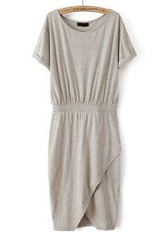 Grey Short Sleeve Split Bodycon Dress