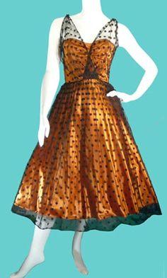 Ceil Chapman 1950s prom dress in fab polka-dots