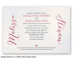 Poetic Typography Letterpress Wedding Invitation by David's Bridal