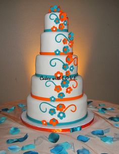 Blue and Orange wedding cake - * @Shannon Bechler this would be perfect. shades of purple, cake wedding, butterflies, blue and orange wedding, color, wedding blue, orange weddings, wedding cakes, blues