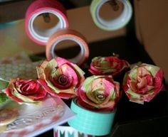 Washi Tape Flowers (tutorial) by Pooi for American Crafts