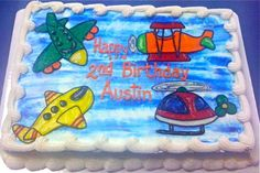 Airplane/helicopter birthday cake