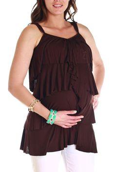 Brown Layered Maternity Tank Top