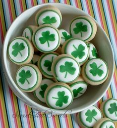 St. Patrick's Day cookies - green shamrock cookies - 2 dozen mini cookies