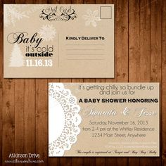 "Rustic ""Baby It's Cold Outside"" Winter Baby Shower Invitation Postcard"