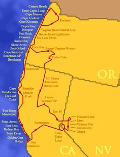 Oregon & California Coast Road Trip Route