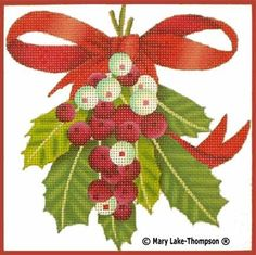 MLT18313mesh (8x8)    MLT184   5x5   18m  Melissa Shirley Designs  Holly w/bow   © Mary Lake Thompson