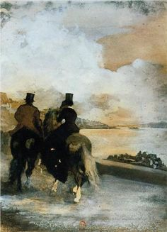 Two Riders by a Lake - Edgar Degas - pen & ink - 1861
