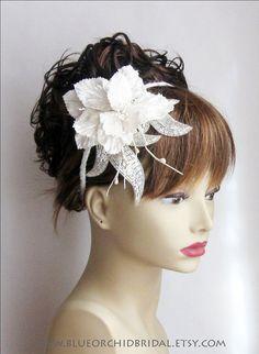 Bridal Hair Fascinator Ivory Wedding Head by BlueOrchidBridal, $125.00