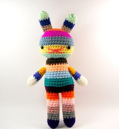 rainbow rabbit toy amigurumi crochet doll  .. rabbit big bow 5 .. children. $30.00, via Etsy.