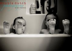 Photography. Wrinkled feet! Kids in tub with feet over edge. Just move their faces so you can see them as well