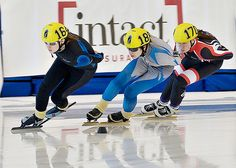Whitehorse's Heather Clarke, right, competes at the Canadian Short Track Championships at the Richmond Olympic Oval last weekend in B.C. Clarke won bronze in the 1,500-metre event on her way to finishing fifth overall in women's junior B.