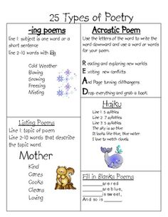 no description poetry grade one, grade 2 poetry, poetry third grade, reading third grade, poetry for third grade, languag art, poetry lessons, types of poetry, 25 type