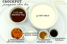 Pour tea and milk into crockpot.  Add pumpkin spice, sugar, and vanilla. (The amount of sugar and pumpkin spice used can be adapted to your preference).  Whisk ingredients together.  Cover and cook on high for 2 hours.  Change temperature to warm.  Ladle into teacups and top with whipped cream and a sprinkle of cinnamon.