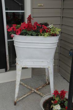 Vintage Washing Tub as Flower Planter