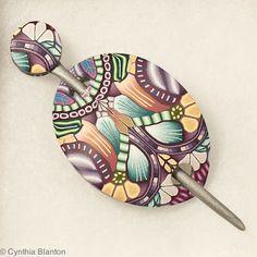 fimo, studios, cynthia blanton, color, cane, polym clay, polymer clay, shawl pin, blanton studio