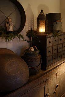 great taste! lantern, prim christmas, rustic christma, primitive christmas, primit decor, antique christmas, wooden bowl, drawer, primitive decor