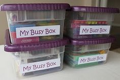 Take the busy bags and make a busy box for more extended independent playtime (like nursing another little one)