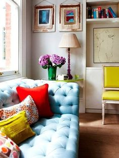 Soft colored Chesterfield with bright accents