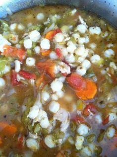Green Chile Chicken Posole  modified  version of a Taos Pueblo Recipe