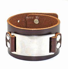 Men's leather cuff bracelet in silver alloy by casejewelrybracelet, $9.00