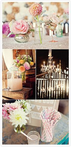 #WeddingTip: Infuse color and texture into every little detail, like these ivory sequined linens, glam chandeliers, and striped straws. #DBBridalStyle Learn More About David's Bridal's Pinspire My #Wedding #Contest: http://apps.facebook.com/286737191431847/?fb_source=timeline