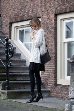 sweater & leather #streetstyle #fashion #style #leather chip, skirts, fashion styles, white, street styles, winter outfits, street style fashion, oversized sweaters, black