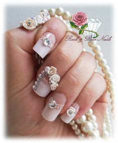 Acrylic Nails White Tips Bridal Wear by RockRoseNails from Nail Art Gallery