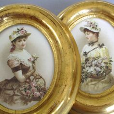 Pr Small Antique 19thC WATER GILDED Frames Gilt Wood & Gesso * LADY Portraits