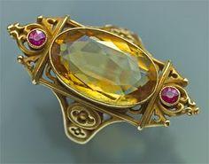 Medieval Wedding Ring~Quartz perhaps, rubies & high karat gold, fantastic!