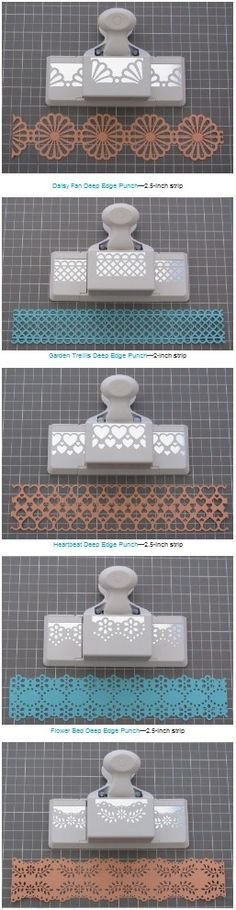 Handy list of measurements needed to create double edged strips with various Martha Stewart edge/border punches and a tutorial (11 different punches including the one in the slideshow tutorial) #paper #punches