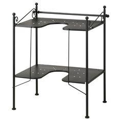RÖNNSKÄR Sink shelf - IKEA, clever storage for pedastal sink even if hidden by sink skirt.Other sites had chrome/nickle.