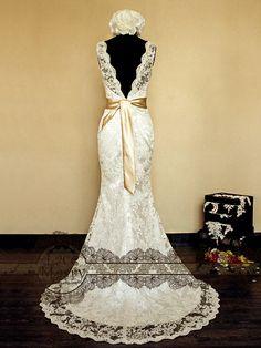Deep V-Cut Back Vintage Style Lace Wedding Dress Features Illusion Neckline and Satin Sash. $252.00, via Etsy. wedding dressses, vintage wedding dress lace, lace wedding dresses, style lace, vintag style, vintage dresses wedding, wedding dresses vintage lace, deep vcut, vintage style