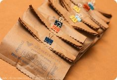 party favors, brown paper bags, teacher gifts, gift bags, teacher appreciation gifts, lunch bags, diy gifts, binder clip, handmade gifts